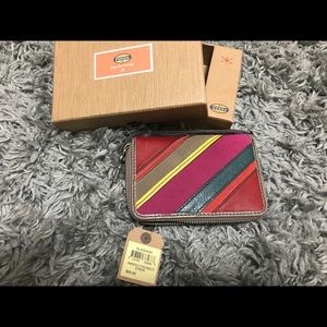 Fossil perfect multi stripe leather wallet NEW